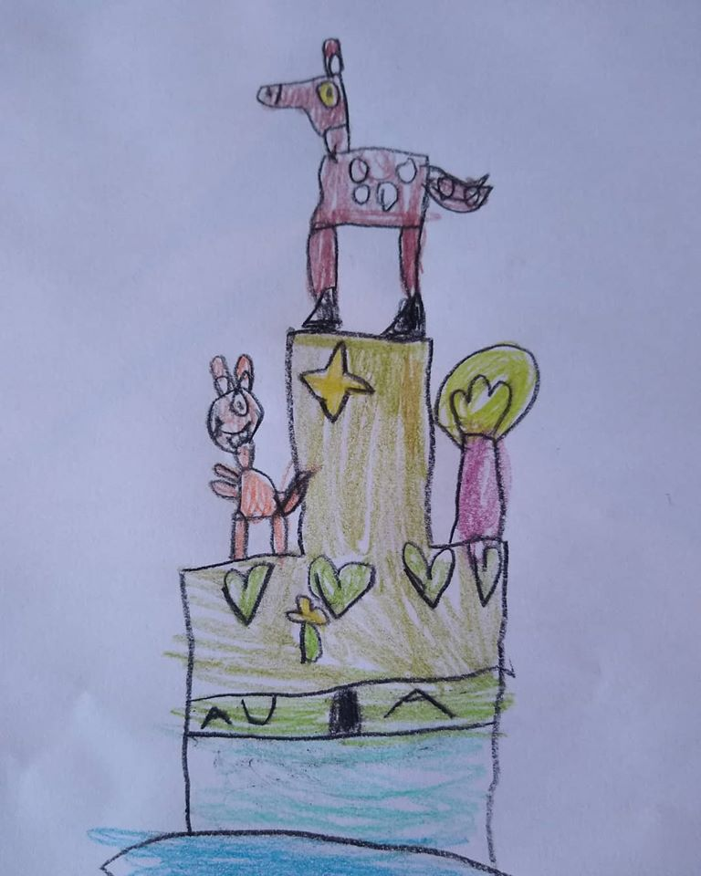 projekt na urodziny dziecka, rysunek dziecka, dwa piętra, sarna drzewo, serduszka wiewiórka gwiazda