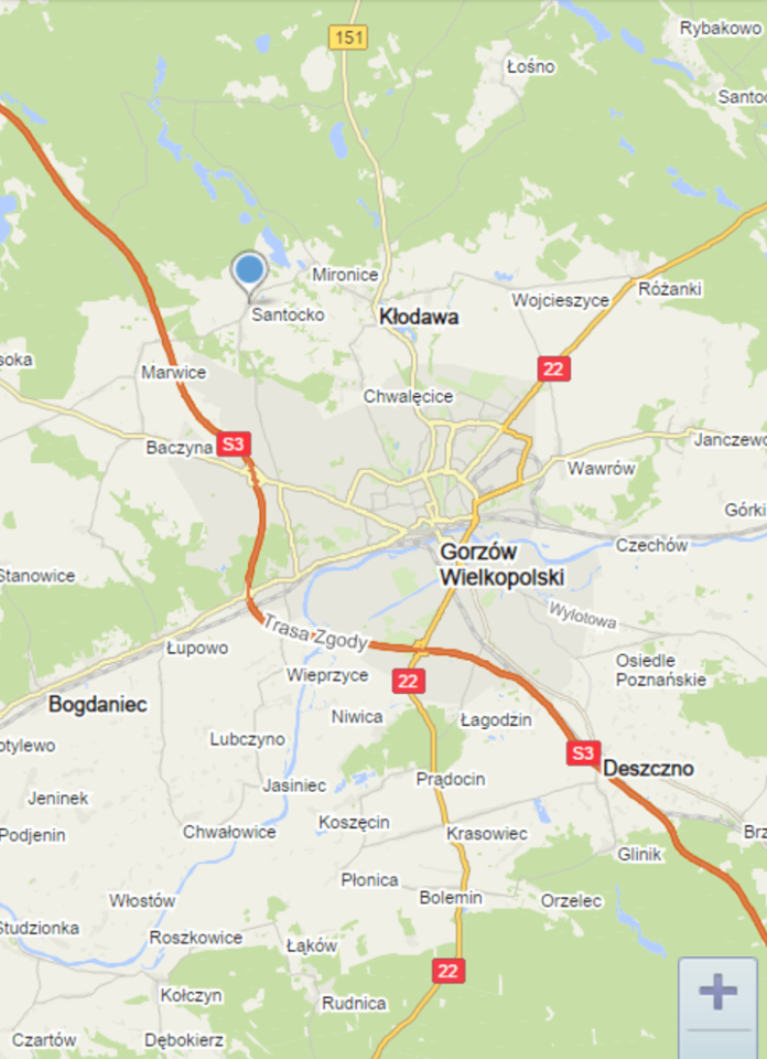 kontakt mapa dojazdu miejscowość santocko