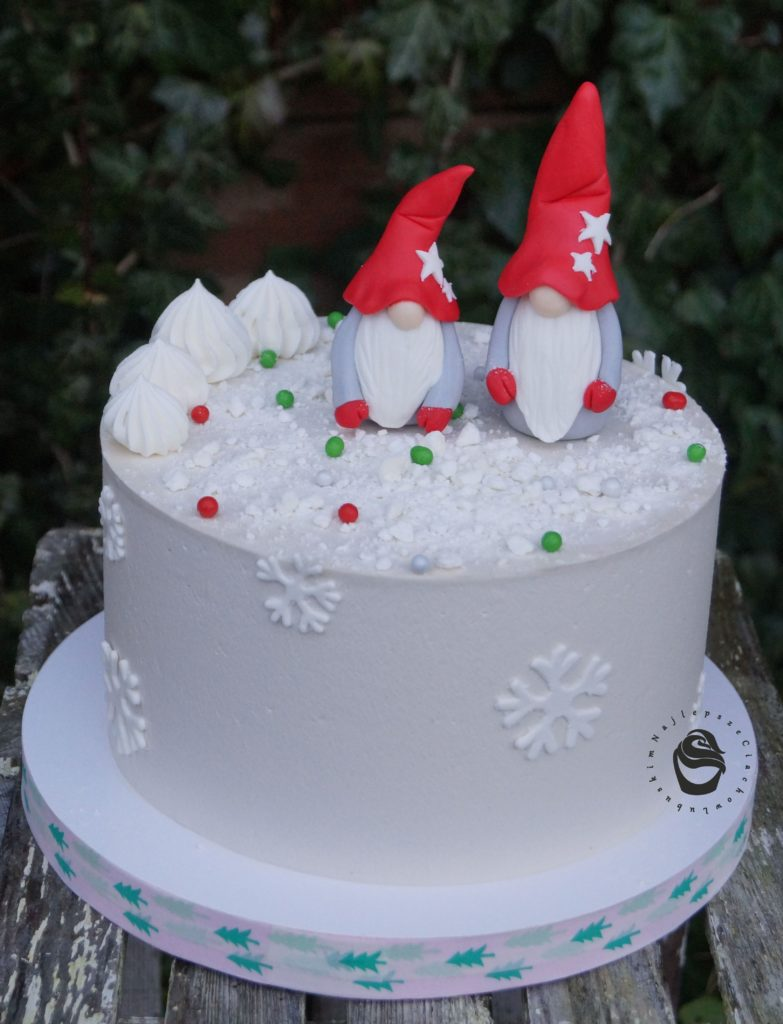 tort boże narodzenie skrzaty świąteczny dekorowany personalizowany
